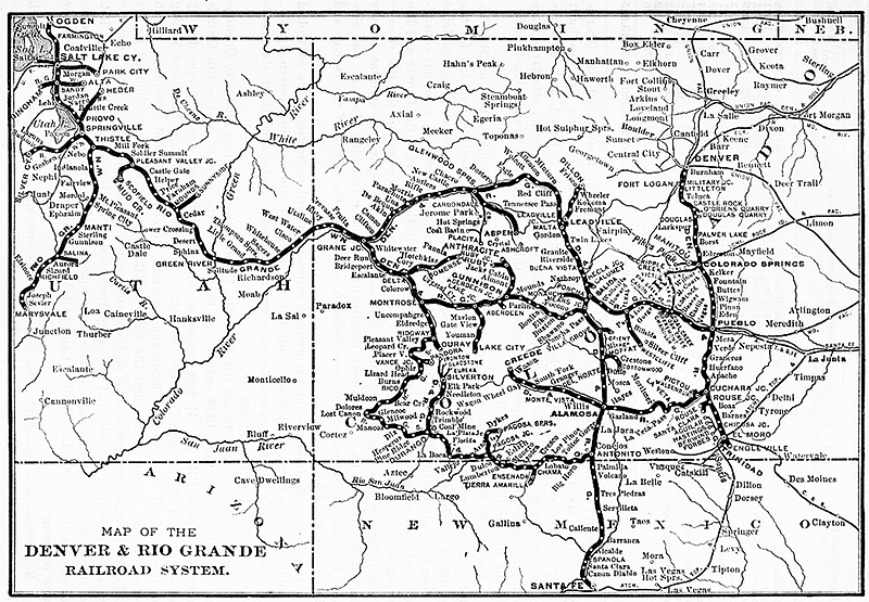 Denver Rio Grande Map Showing The Silverton Railroad Silverton To Ironton And The Rio Grande Southern Ridgway To Durango
